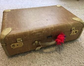 Vintage Early Century Paul Bunyan Air Luggae Herringboned Hard Sided Midsize Suitcase