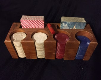 Vintage Wooden Poker Caddy with Cards