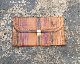 Vintage faded leather clutch // oversized leather clutch purse // large leather purse // aged leather bag // 70s leather clutch //