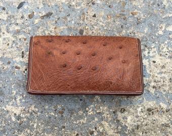 Vintage Tan ostrich purse // boho brown coin wallet // ostrich purse // boho leather coin purse // soft leather wallet