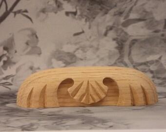 Oak Drawer Pull - Vintage Looking Pulls - Carving Design - Oak Pull - Choose Your Color