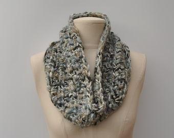 Chunky crocheted cowl - green/aqua/silver mix