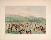 """George Catlin's North American Indian Portfolio : """"An Indian Ball-Play (Lacrosse)"""" (1844) - Giclee Fine Art Print"""