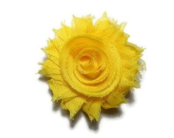 Yellow Flower Hair Clip - Girls Yellow Hair Clip - Yellow Shabby Flower Hair Clip - Yellow Hair Flower - 2.5 inch