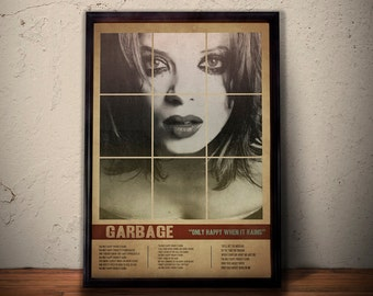 GARBAGE SHIRLEY MANSON Poster * Only Happy When It Rains Lyrics Poster Art Print * Retro Vintage Wall Art  A1 A2 A3 A4 Sizes