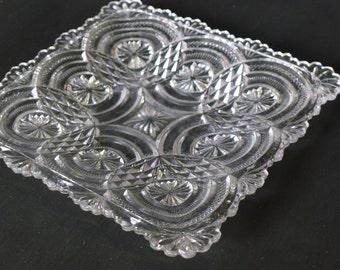 Square cut glass plate