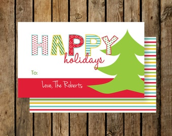 Personalized Holiday Gift Tags / Happy Holidays