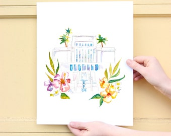 LDS Temple Watercolor (Laie, Hawaii)