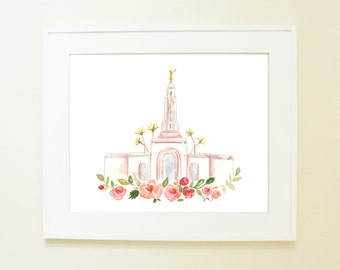 LDS Temple Watercolor (Redlands, Cali)