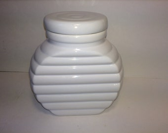 SALE! White Ceramic Ribbed Jar *FREE SHIPPING* Jar with lid