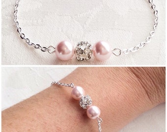 Blush Bracelet Set Pink Pearl Jewelry Blush Pink Bracelet Bridesmaids Wedding