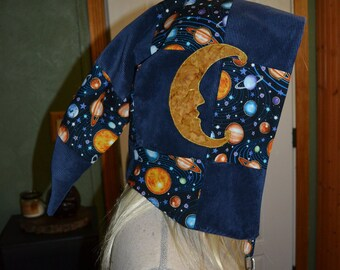 Patchwork corduroy and space print pixie style festival weighted hood