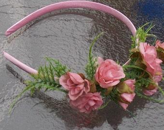 Pink Rose Flower Headband, Rose Fascinator with Fern Fronds, Pink Bridal Headpiece, Flowergirl Crown, Rosebud Crown, Rose Bridal Crown