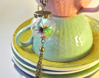 bubble necklace with multi-colored flowers