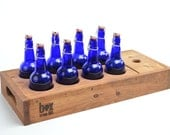 Home Brew Beer Caddy with 8 cobalt blue bottles by Box Brew Kits
