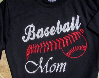 """Baseball Mom Shirt with """"BASEBALL MOM"""" in Sparkling Silver Glitter and Baseball with Red Glitter Stitches"""