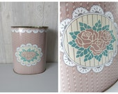 waste not | Vintage 80s Pastel Pink Shabby Chic Roses & Lace Printed Metal Trash Bin Receptacle