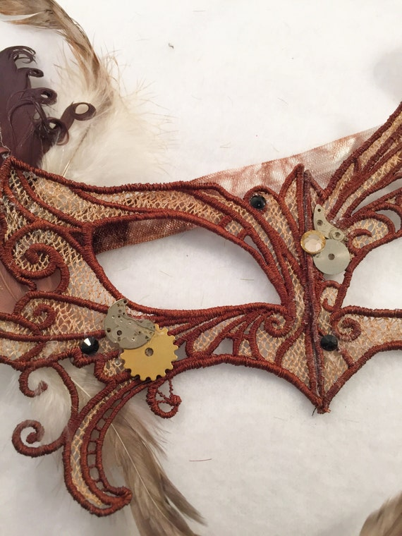 Steam punk Lace feather crystal mask masquerade ball mardis gras