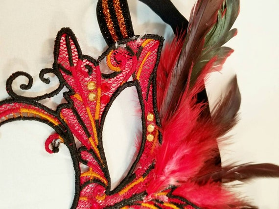 Molten Lava, Lava girl mask! Lace feather crystal mask masquerade ball dance prom holiday SALE PRICE
