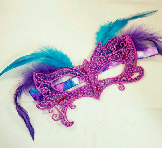 State Fair mask! Embroidered lace feather crystal mask masquerade ball dance prom holiday blues and pink