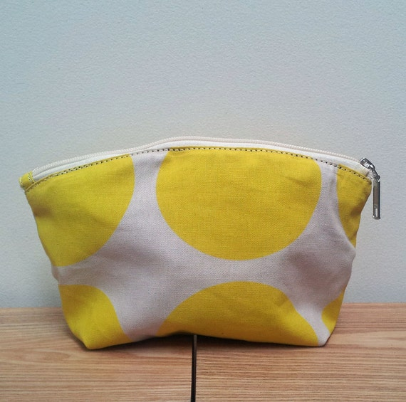 Women's Cotton Cosmetic bag - Yellow/ natural make up bag, travel pouch,  bag for travel