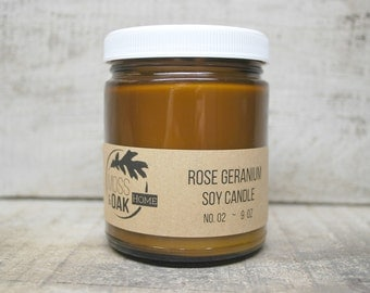 Rose Geranium Soy Candle    9 oz