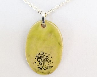 """Chartreuse Ceramic Pendant with Tree of Life on a silver plated 18"""" necklace"""