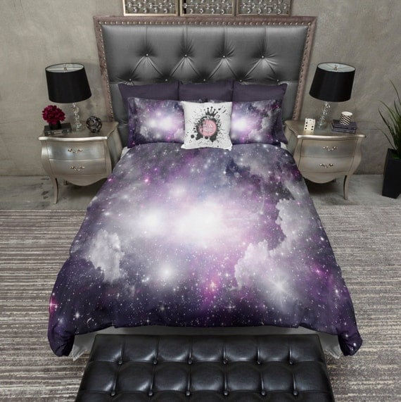 Lightweight galaxy bedding purple cosmos duvet cover by for Outer space bedding
