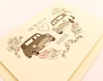 Classic Mini Cooper car romantic card