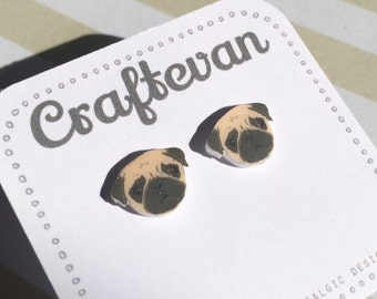 Little pug dog stud earrings