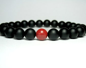 Matte Onyx and Red Jasper Beaded Bracelet, Stretch Bracelet, Mens Bracelet, Mala Bracelet, Gemstone Bracelet, Yoga Bracelet,