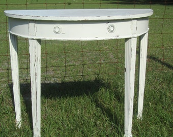 vintage side table, end table,table,distressed table,furniture,moon,half circle,shabby chic decor,entryway table,foyer,white table