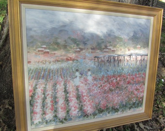ORIGINAL PAINTING,Monet style, Victorian painting, framed art, portrait, gold frame, wall decor,impressionist,blue,pink,flowers,floral,