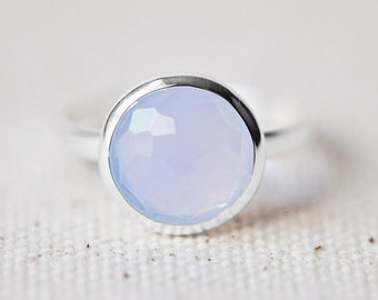 Blue Chalcedony Ring - Round Ring - Faceted Gemstone Ring - Stackable Ring