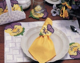 PLASTIC CANVAS - 4 Table SETS Pattern Book - Each Set has Placemat, Napkin Ring, Coasters + Holder - Florals Original Not a Pdf Kenyon Books