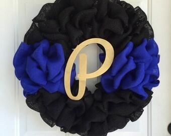 Law enforcement wreath, Thin blue line wreath, officer gift, burlap wreath