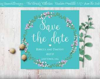Custom Printable Square Save the Date Card - The Christy Collection