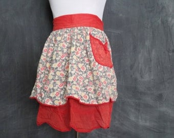 Old Beautiful 40s 50s Red Reversible Half Apron/ Retro Kitchen
