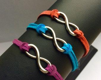 Infinity charm bracelet friendship unisex suedette cord women men purple red blue white silver black brown gift for him her handmade uk