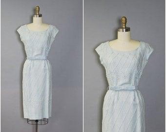 MEMORIAL SALE 1950's Carlye Dress//Blue Wiggle Dress//50's Moygashel Linen Dress