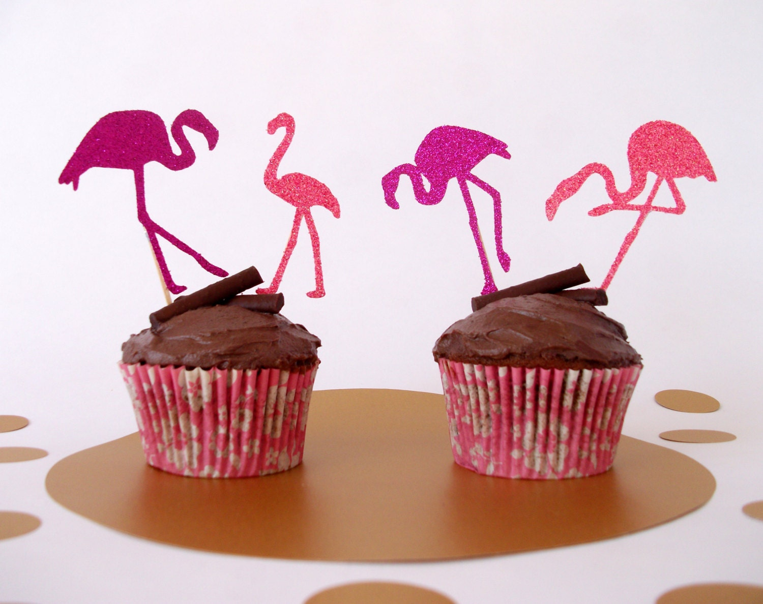 Cake Toppers Etsy Uk : Flamingo Cake Toppers set of 12 Cupcake Toppers Pin Up Cake