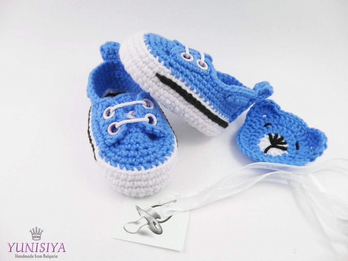 blue baby shoes newborn crochet shoes infant booties blue