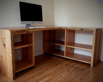 Bespoke, reclaimed antique pine office desks.