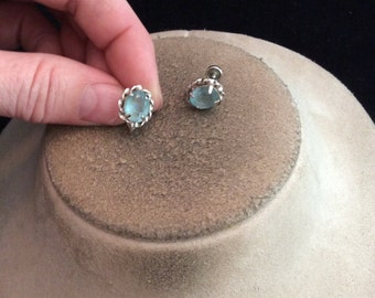 Vintage Sterling Silver Artist Signed AZ Baby Blue Glass Screw Back Earrings