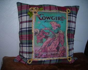 Retro Western Cowgirl Romance decorative pillow