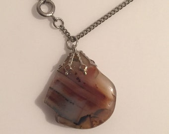 30% DISCOUNT SALE Partially Polished Handmade Riverstone / Agate? Necklace (#2)