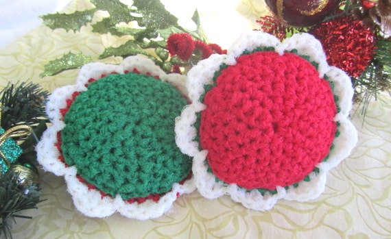 2 Scour Pad Flowers Nylon Scrubbie, Dish Pot Scrubber, Mesh Cleaning Sponge, Crochet Scrub, Kitchen, Bath, Laundry, Holly colorset