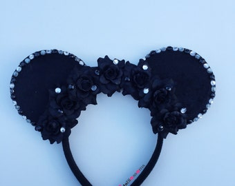 Black Rose Mouse Ears, Minnie Mouse Ears, Disneyland, Disney World, Mickey Mouse Ears,