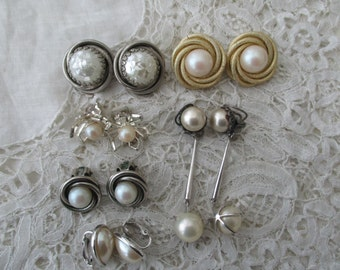 Vintage pearl earrings x 6 clip ons