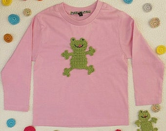 Girls shirt pink 100 cotton customized with frog embroidery - long sleeves
